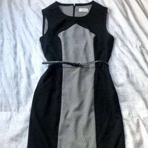 Calvin Klein Color Block Work Dress with Belt